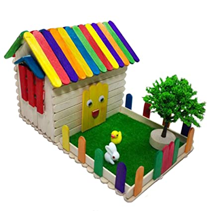 Amazon Com Craft Sticks Diy Wooden Handmade Popsicle Sticks House