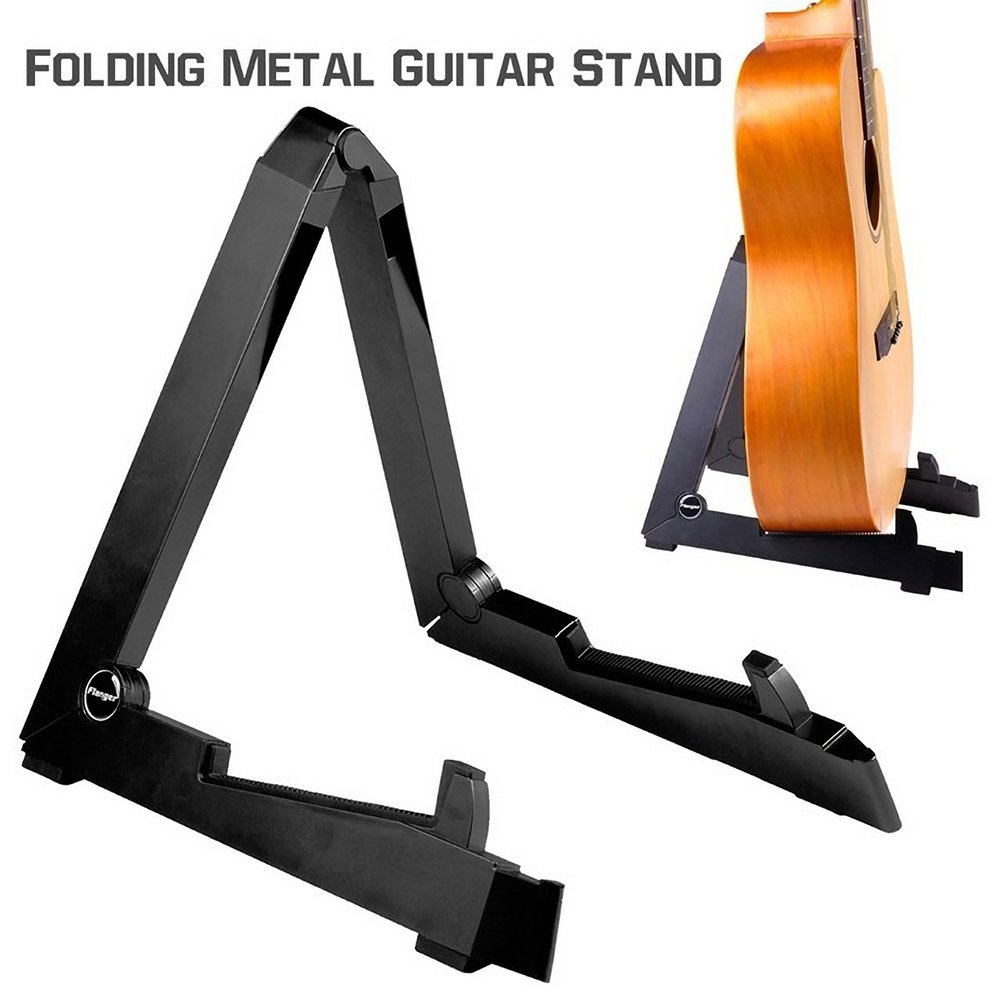 Guitar Stand Folding Non-slip A-frame Holder Universal Single Aluminum Floor Stand with Protective Silicone Padding for Acoustic Electric Guitar and Bass - Black