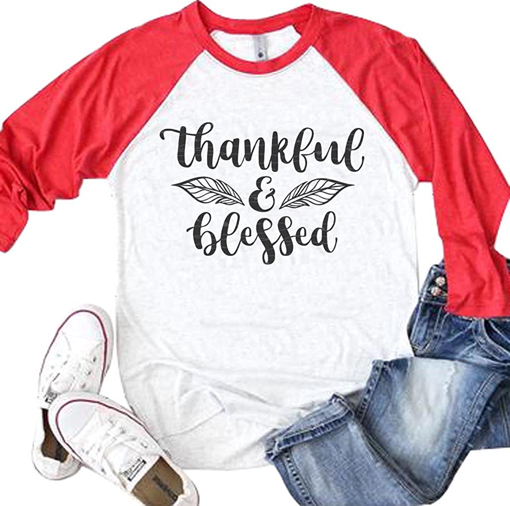 Thankful and Blessed Leaf Graphic T-Shirt Women Thanksgiving 3/4 Sleeve Raglan Top