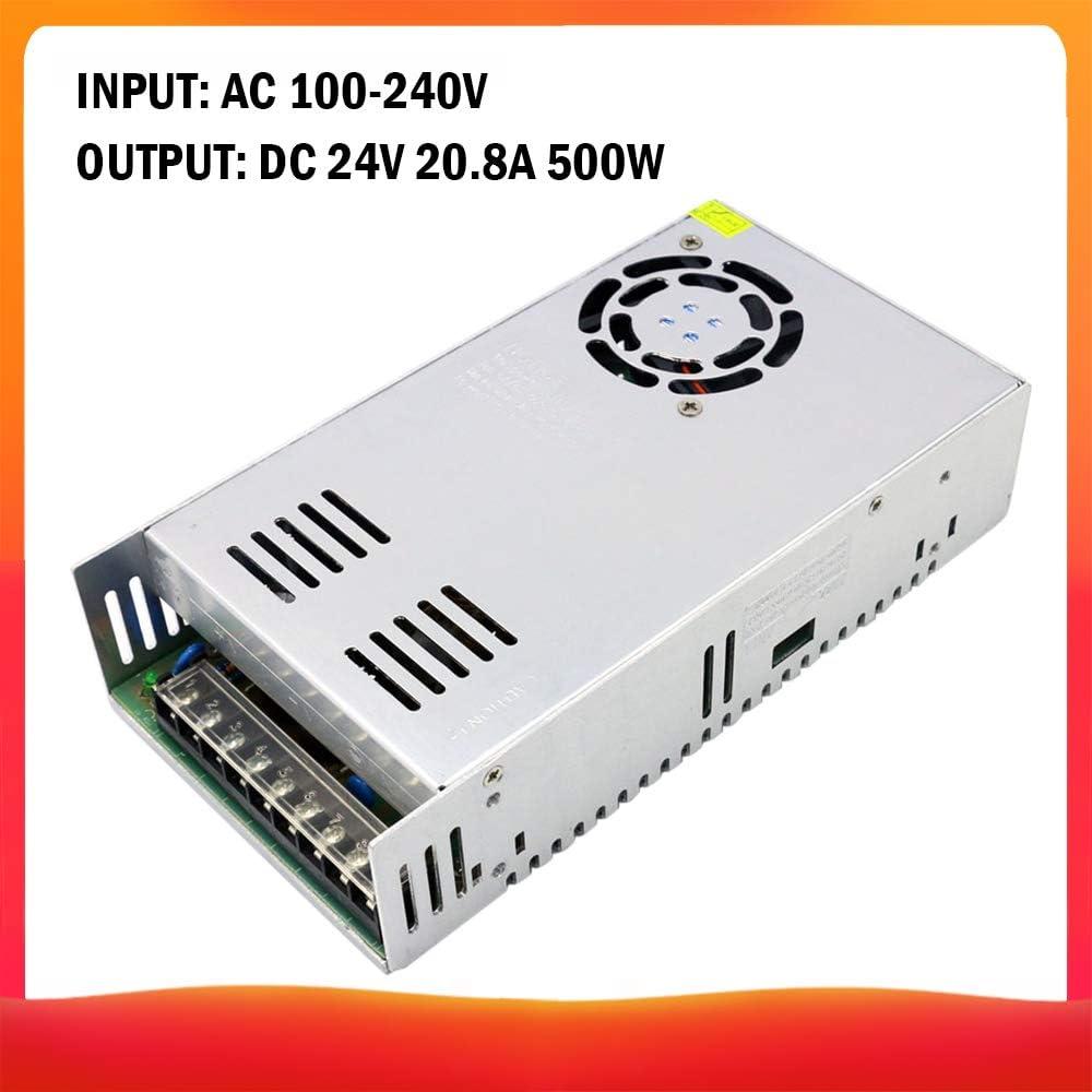 Lilideni AC 100-240V a DC 24V 20.8A 500W Transformador de Voltaje Conmutación regulada Fuentes de alimentación Adaptador Convertidor para Tiras Luz Cámara Proyecto de computadora Radio