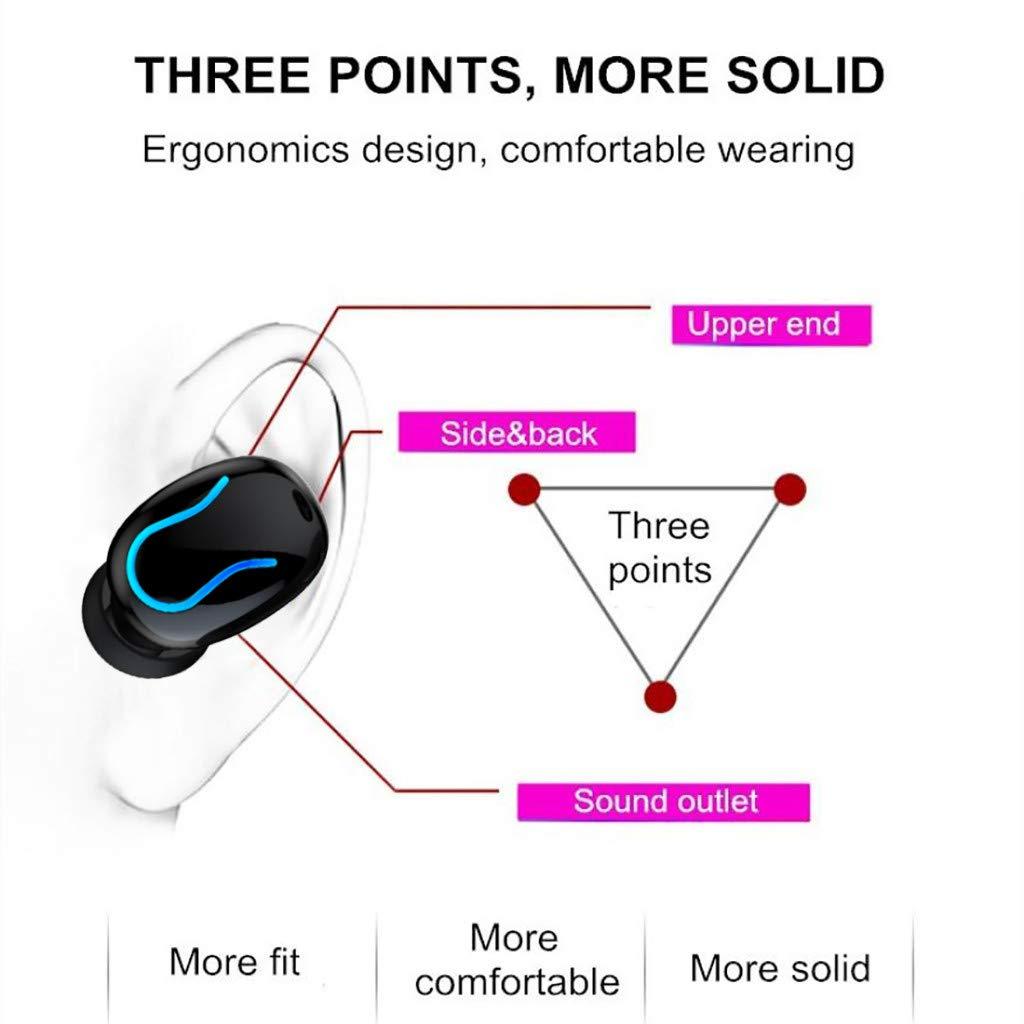 MiMiey Q82-Q35 Binaurales Bluetooth Headset 5.0 kabelloses Headset mit Batteriefach für Digitalanzeige (Schwarz)