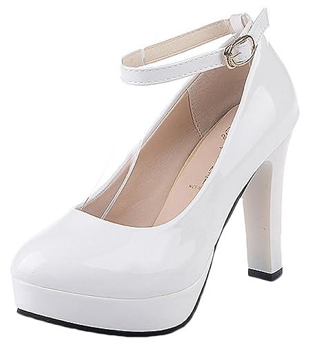 45e46ff768022 Bevalsa Femme Sexy Suédé Escarpins Bride Cheville Talon Aiguille Haut  Plateforme Epais Chaussures Lacets Chaussures Club