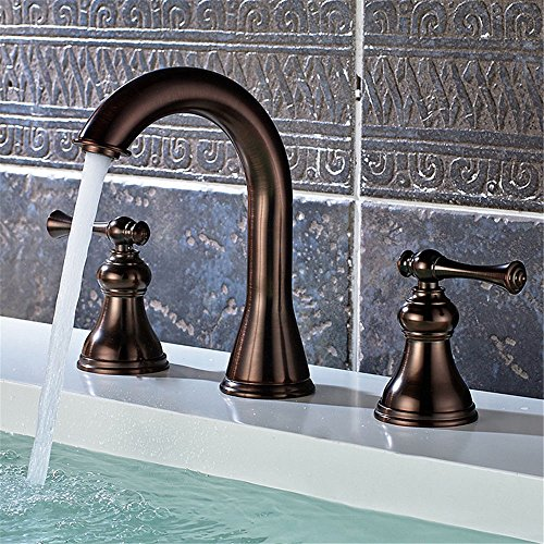 ETERNAL QUALITY Bathroom Sink Basin Tap Brass Mixer Tap Washroom Mixer Faucet Basin-Copper Red Brown Bath-Cold Water Fixed Three-Piece Bathroom Sink Faucet Kitchen Sink T