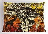 Lunarable African Pillow Sham, African Animals Safari Theme Ancient Cultural Ethnic Art Grunge Bohemian, Decorative Standard King Size Printed Pillowcase, 36 X 20 Inches, Yellow Orange Brown