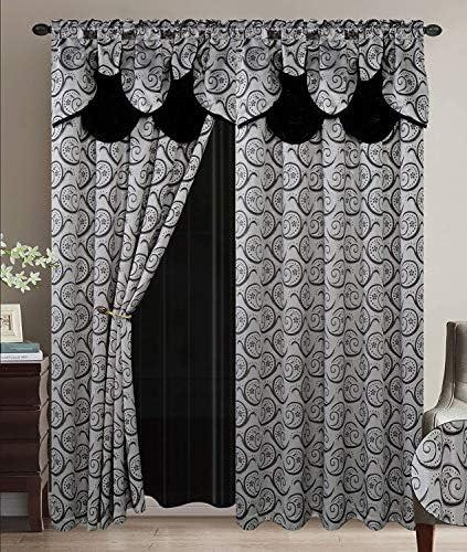Smart Linen Jacquard 2 Piece Rod Pocket Window Panel Curtain Drape Set