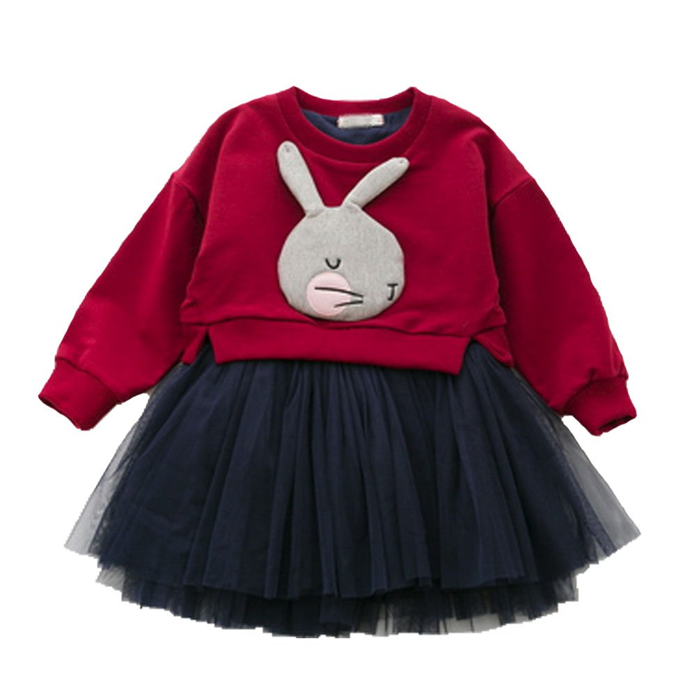 Children Skirts Little Girl Cotton Long Sleeve Top Sleeveless Dress Skirt Sets Cute Rabbit Clothing Set 2-10 Years VIYOO