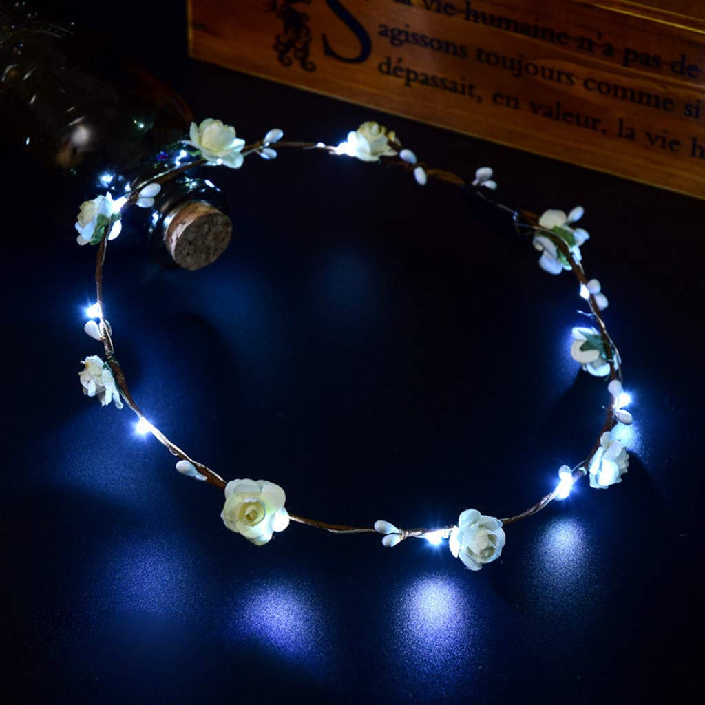 Light Up Hair Band LED Small Flower Light Glowing Hairband Club Party Concert