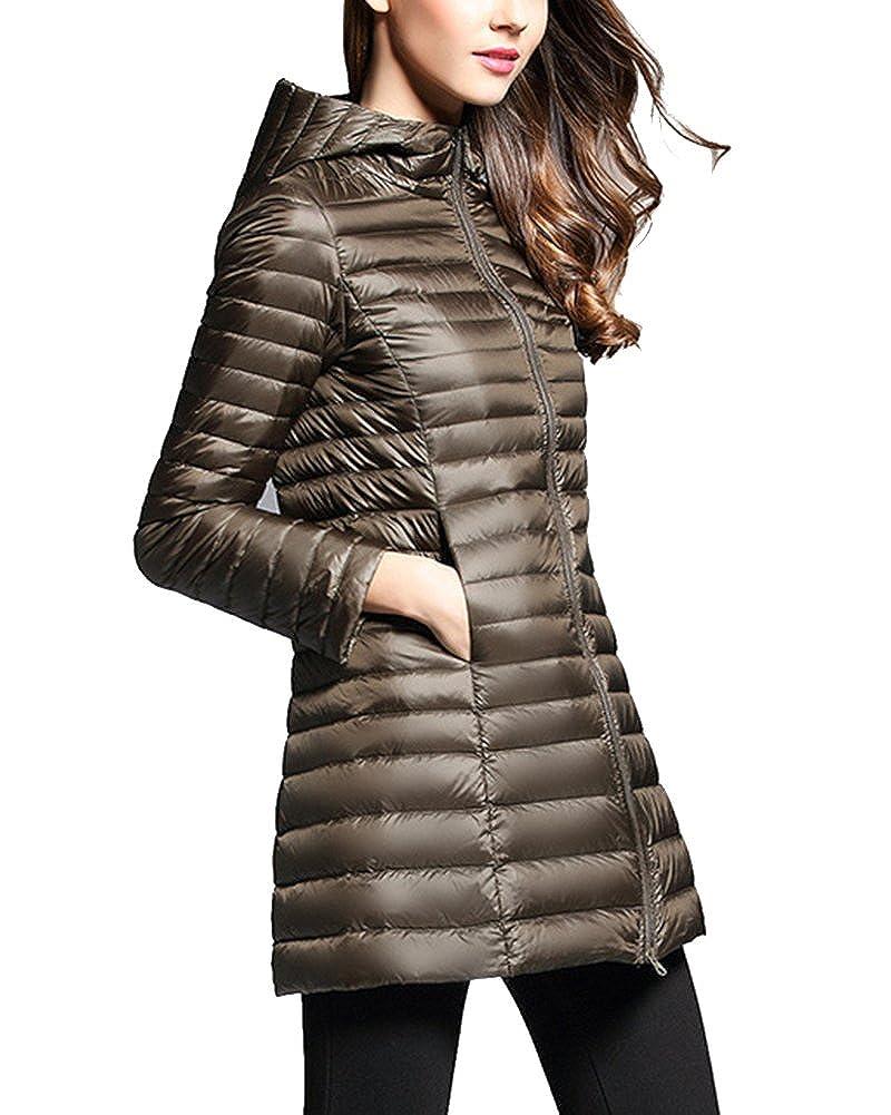 ZhuiKun Mujer Abrigo de Plumas Invierno Ligero Largas Chaqueta Plum/ón Parka