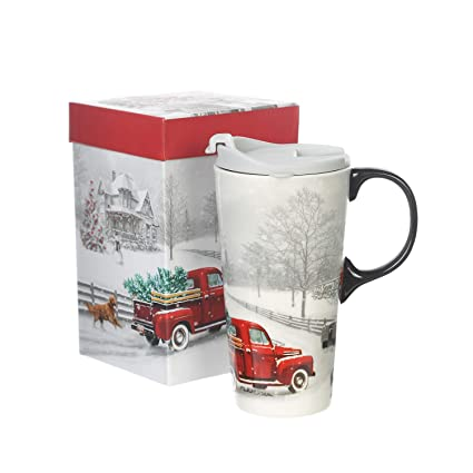 065fba6e4ab9 17 oz Ceramic Travel Mug with Gift Box Porcelain Coffee Cup and Spill-proof  Lid