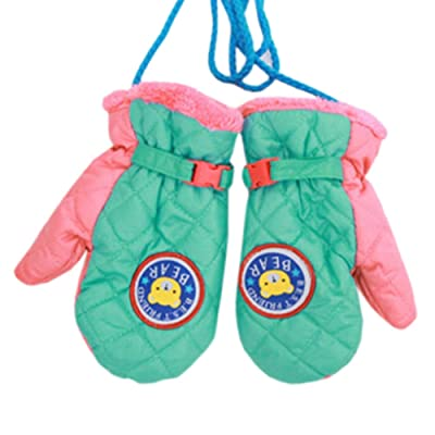 1 Pair Kids' Winter Gloves Warm Mittens Windproof Glove(2-6 Years) Pink/Green