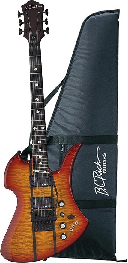 B.C. ricos Mockingbird St guitarra, Trans miel Burst con rieles de madera de ébano