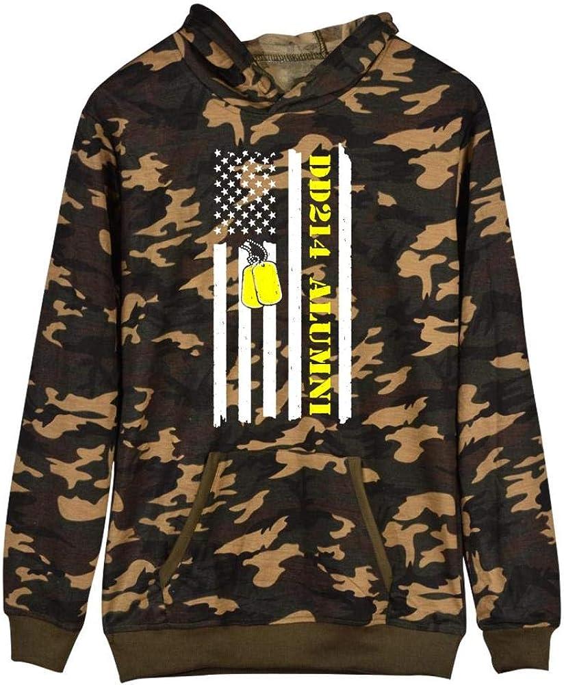 Mens Hooded with Kangaroo Pockets,Army Camouflage Sweatshirt Hoodies Flag DD-214 Alumni