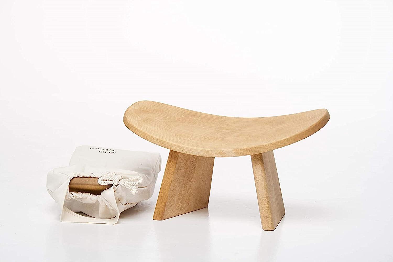 BLUECONY IKUKO Original Meditation Bench, Travel Version, Hand Made Eco Friendly Wooden Kneeling Ergonomic Seiza Seat, Prana Yoga - 2 Colors, 3 Height Sizes