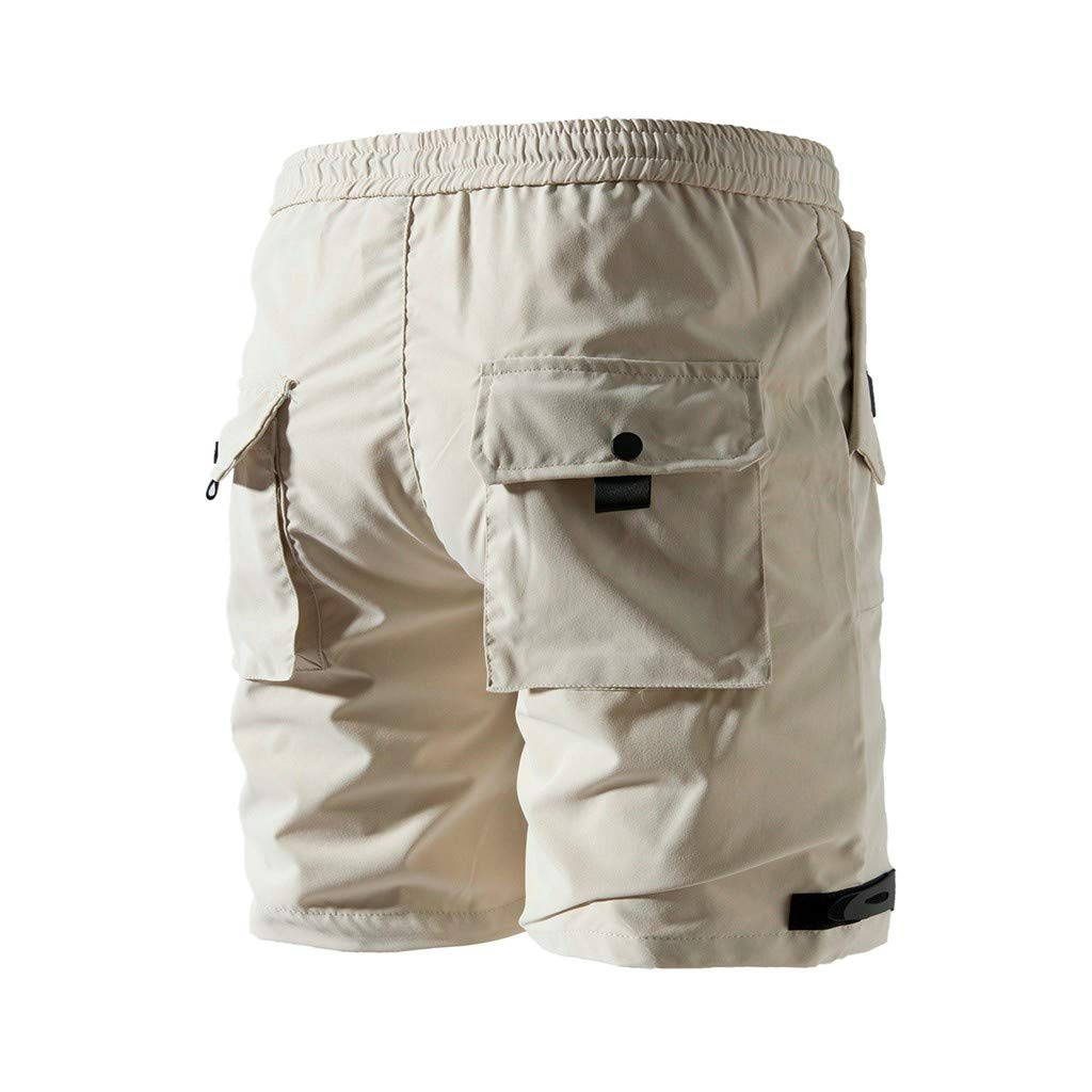 MODOQO Mens Summer Shorts Big and Tall Soft Button-Pocket Elastic Waist Athletic Shorts