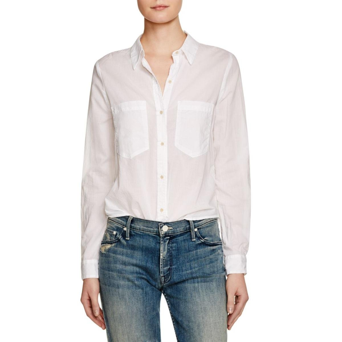 McGuire Denim Womens Sheer Long Sleeves Casual Top White XS
