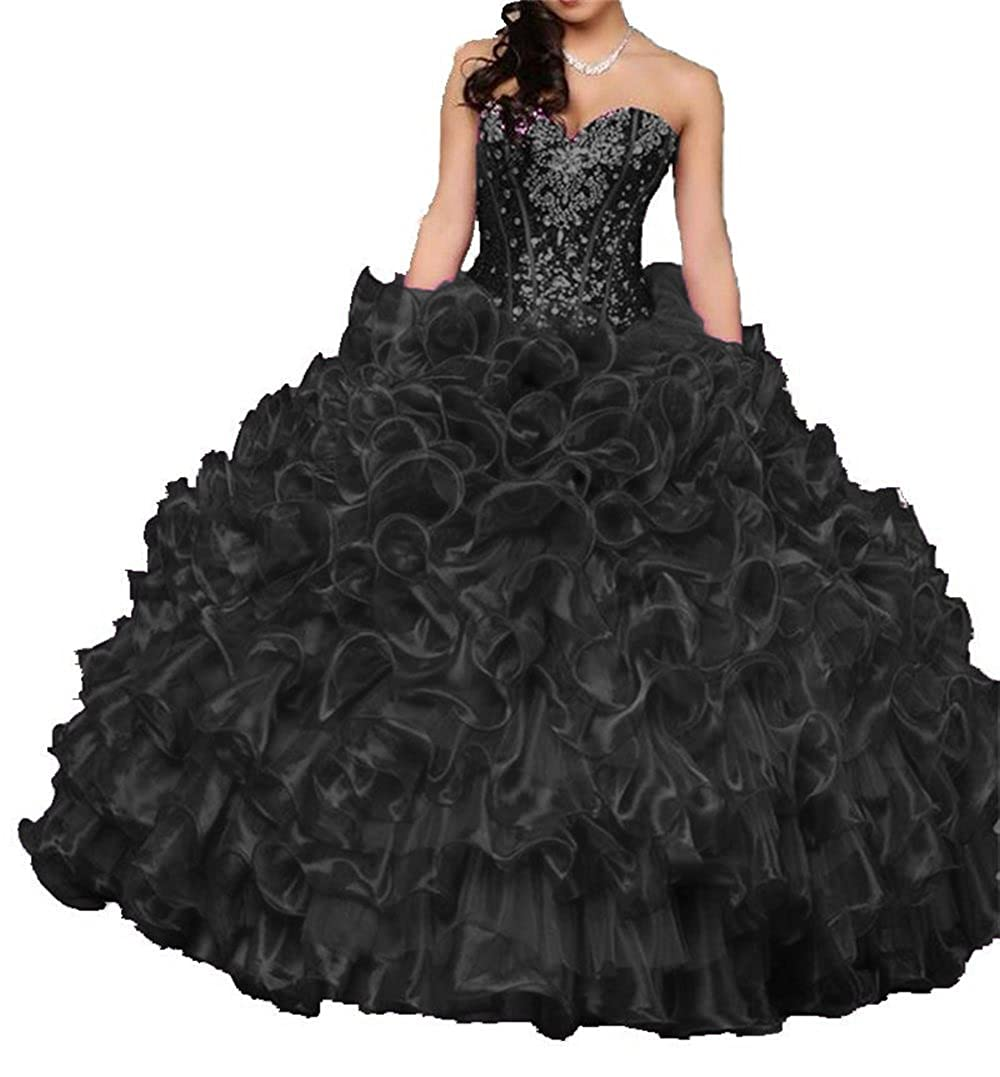 ab45401848c Sweetheart beaded sequin dance ball gown floor length quinceanera dresses  prom party dress for women juniors