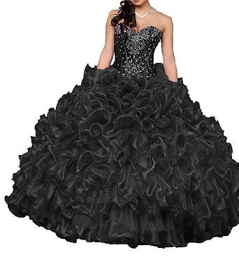 Dydsz Womens Quinceanera Dresses Prom Party Dress Juniors Beaded Ball Gown D15 Black 2