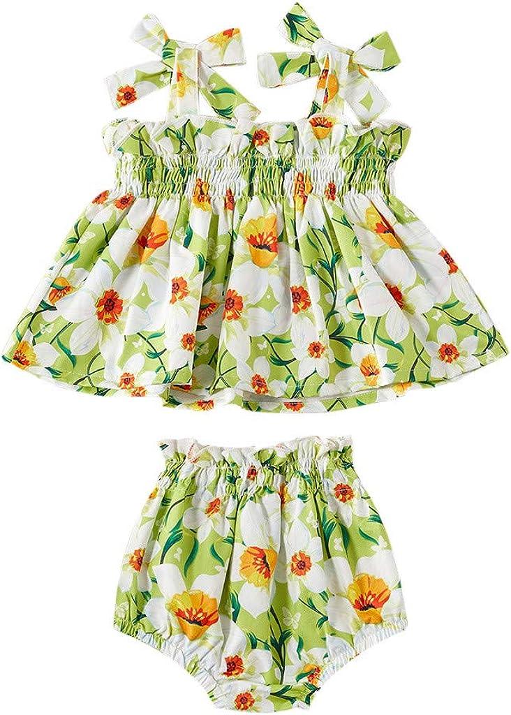 LianMengMVP Kleinkind Baby M/ädchen Sommer Erdbeer Blumenriemen Tops PP Hosen Shorts Set