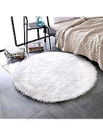 Leevan Super Soft Faux Fur Sheepskin Rug Shaggy Rug Round Area Rugs Floor Mat Home Decorator