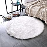 LEEVAN Plush Sheepskin Throw Rug Faux Fur Elegant Chic Style Cozy Shaggy Floor Mat Area Rugs Home Decorator Super Soft Carpets Kids Play Rug Ivory White, Round 3 ft Diameter