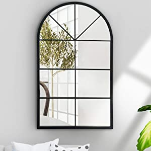 ironsmithn Wall Mirror Mounted Decorative Long Hanging Arched Window Frame Decor Wall-Mounted for Bathroom Vanity, Living Room or Bedroom (Black)