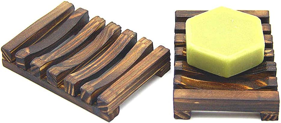 2 Piece Home Bathroom Wooden Soap Case Holder, Sink Deck Bathtub Shower Dish, Rectangular, Hand Craft, Natural Wooden Holder for Sponges, Scrubber