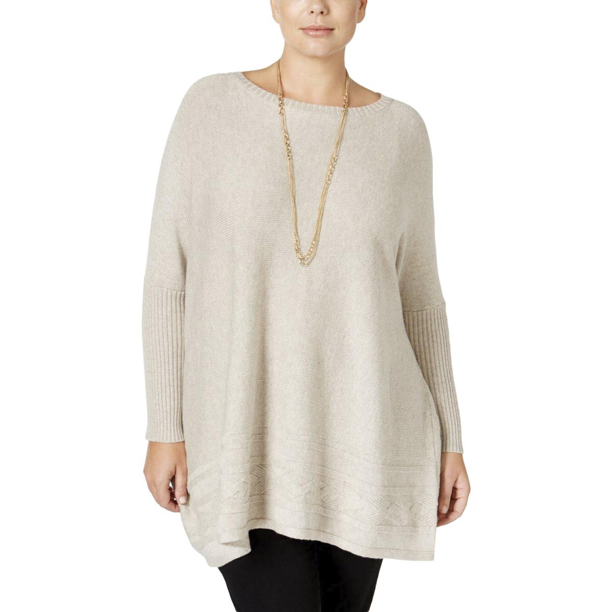 Style & Co.. Womens Plus Ribbed Trim Bateau Neck Pullover Sweater Beige 2X