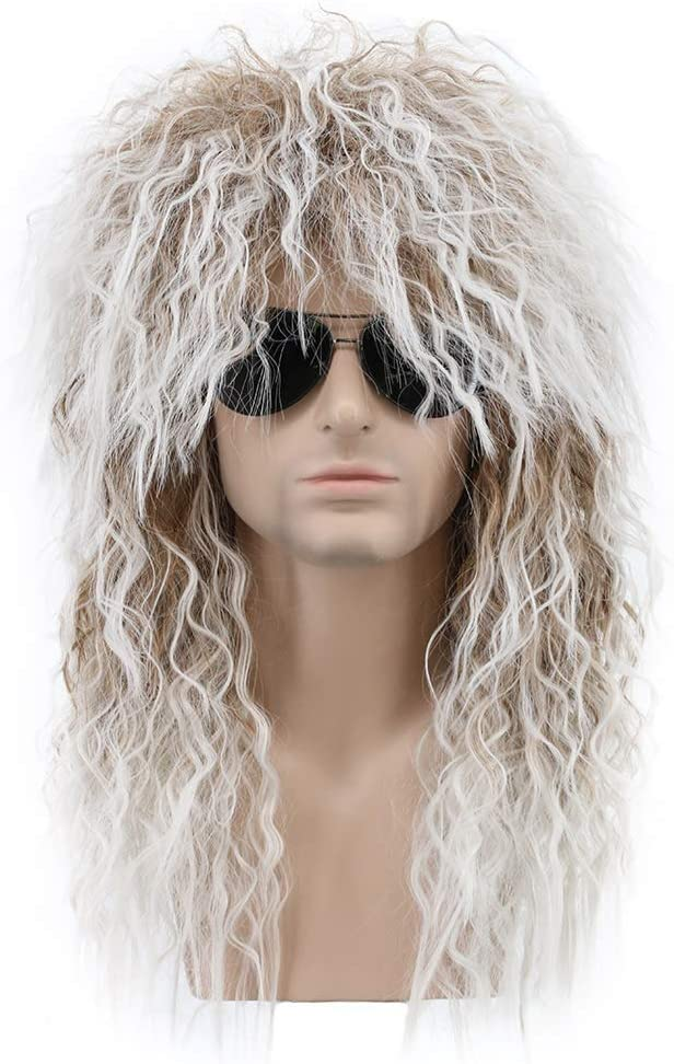 Karlery Men and Women Long Curly Brown Gradient White 70s Heavy Metal Rocker Mullet Wig 80s Costume Anime Wig