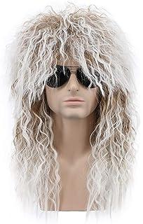 Amazon.com: Topcosplay Mens 80s Wig Black Mullet Wigs ...