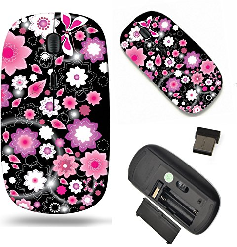 MSD Wireless Mouse Travel 2.4G Wireless Mice with USB Receiver, Noiseless and Silent Click with 1000 DPI for notebook, pc, laptop, computer, mac book design: 11830981 Floral bright pink Heart Valentin (Heart Valentin)