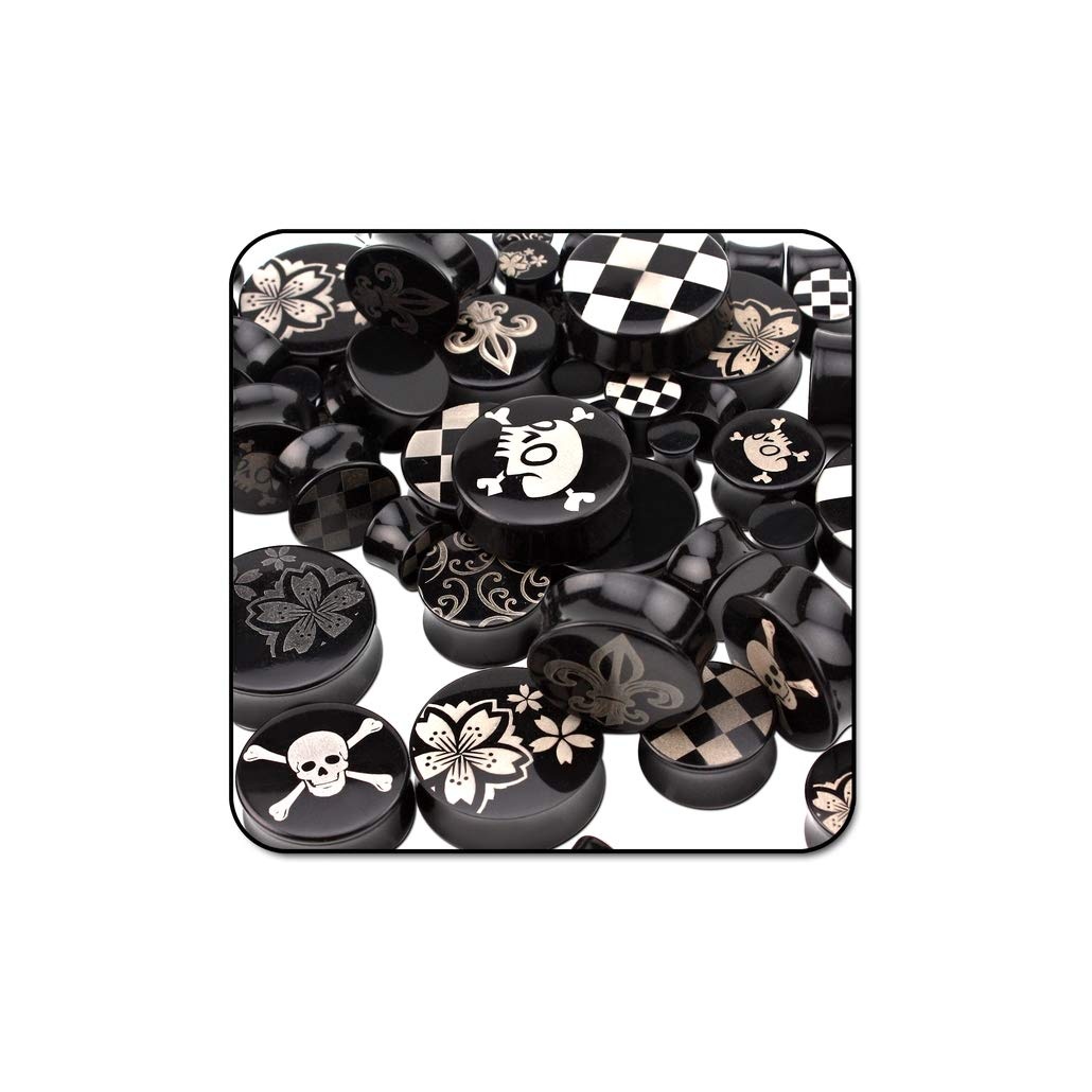 Bubble Body Piercing Value Pack of Mix Laser Etched Uv Acrylic Double Flared Plugs - Pack of 200 Pcs