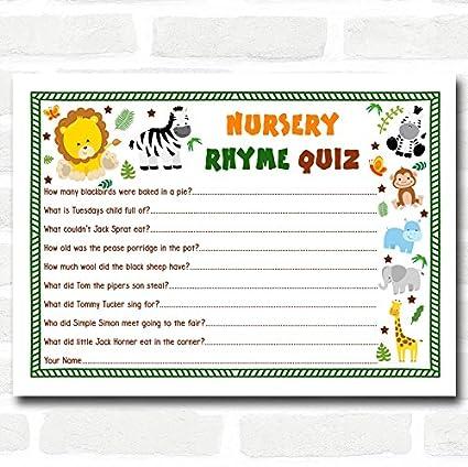 Amazon.com : Jungle Baby Shower Games Nursery Rhyme Quiz Cards ...