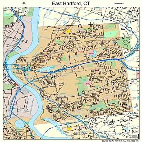 Amazon.com: Large Street & Road Map of East Hartford ...