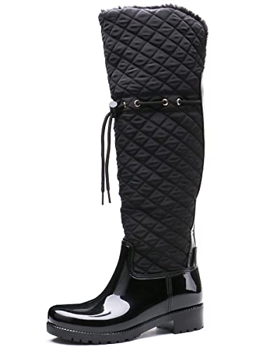 cd76adf9e7d TONGPU Women s Snow Boots Fur Lining Waterproof Knee Length Booties (US10