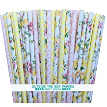 Outside the Box Papers Damask and Rose Floral Paper Straws 7.75 Inches 100 Pack Yellow, Pink, White