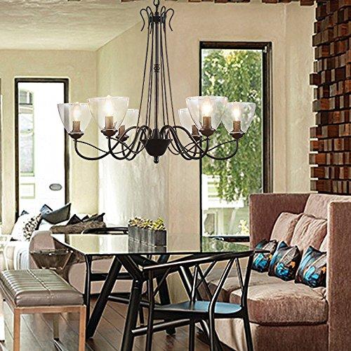 Country americano lampade LED Lampadario in ferro soggiorno sala da ...