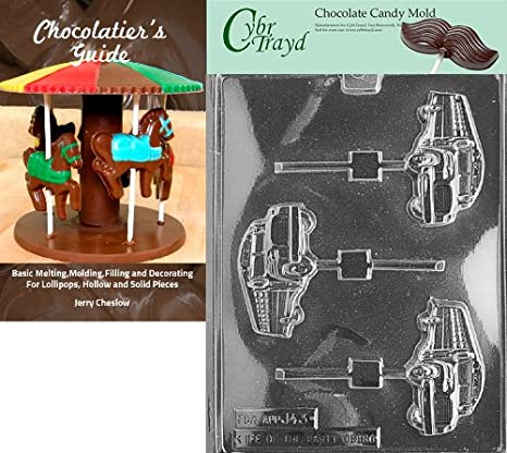 Cybrtrayd School Bus Lolly Jobs Chocolate Candy Mold with 25 4.5-Inch Lollipop Sticks and Chocolatiers Guide