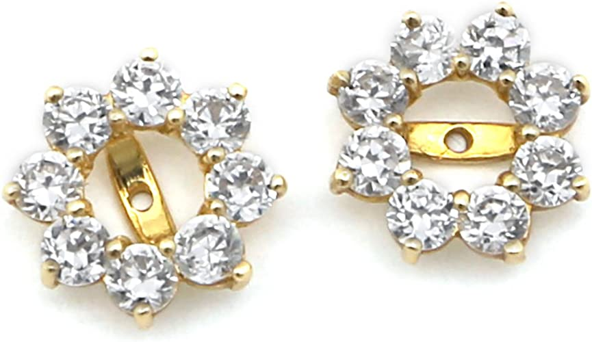 14K Pure Yellow//White Gold Moon Shaped Earrings Set With Cubic Zirconia