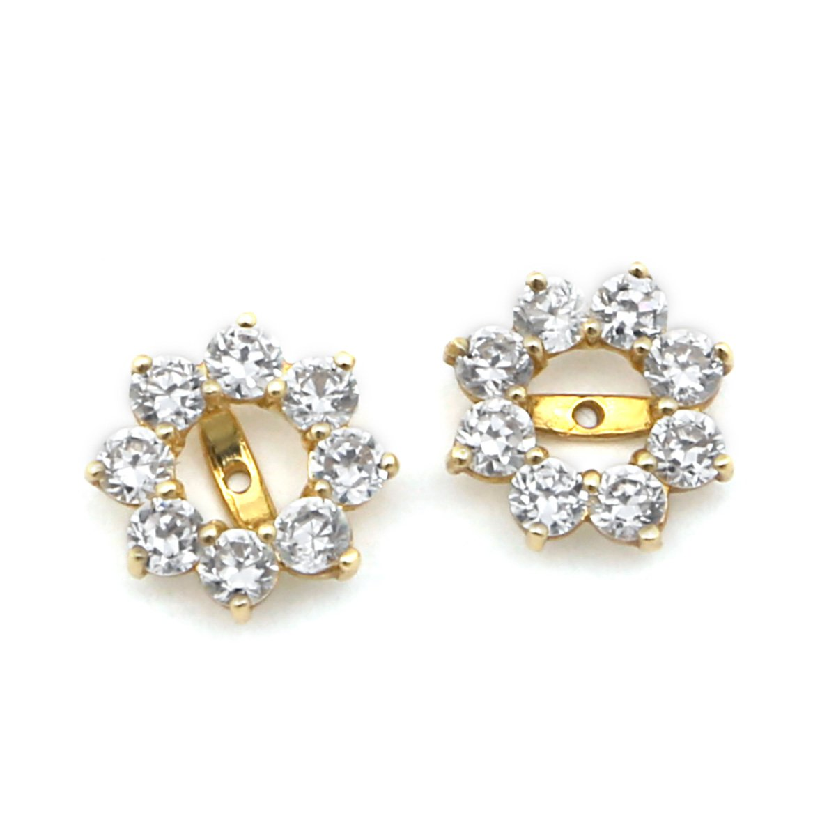 14k Yellow Gold 10 Millimeters Cubic Zirconia Halo Earring Jackets by Beauniq
