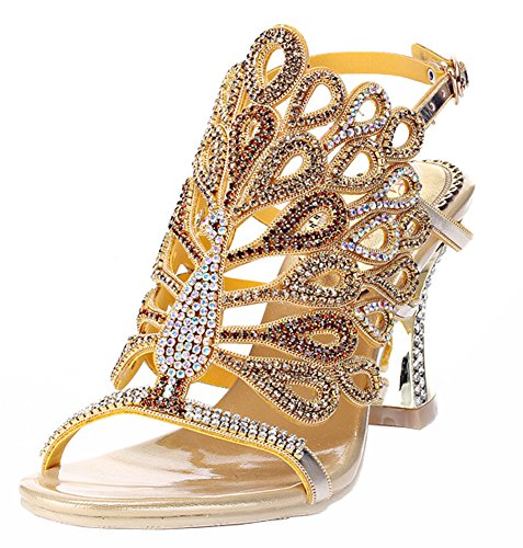 Handmade Rhinestone Honeystore Peacock Patterned Women's Gold Sandals B8BTOwSq