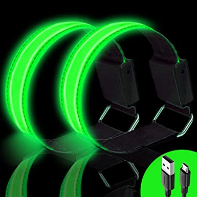 2 Pack High Visibility Rechargeable Armbands Reflective Running Accessories for Night Running Cycling Dog Walking Running Lights for Runners Running Gifts for Men Women Kids New Wish LED Armband