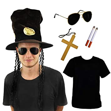 Rocker Slash 80s Guitar Man Fancy Dress Hat Glasses Cross Cigs Guitar Metal Roll
