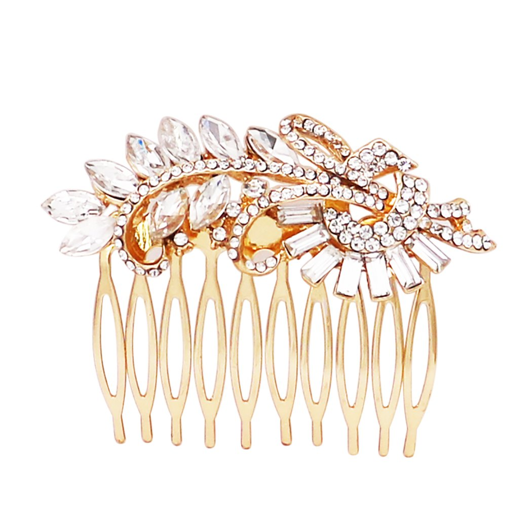 Rosemarie Collections Women's Bridal Headpiece Glass Crystal Leaf Design Hair Comb
