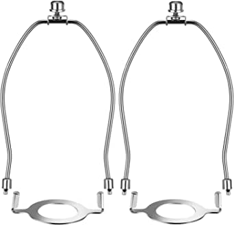 Canomo 2 Packs Lamp Shade Harps Holder 10 Inch with E26 Light Base UNO Fitter Adapter Converter and Lamp Finial, Nickel