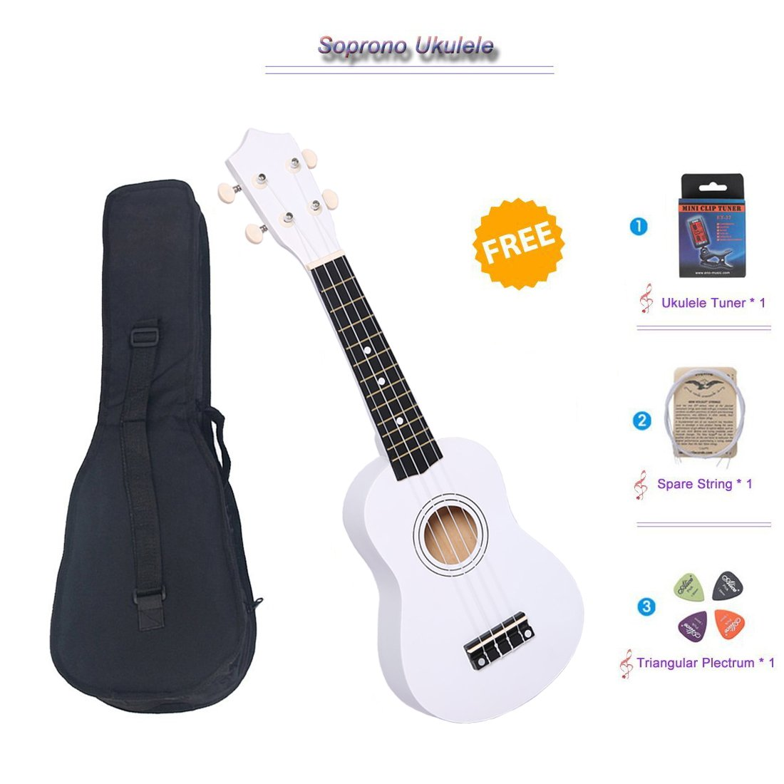 21'' Soprano Ukulele with a Carrying Bag and a Digital Tuner, Specially Designed for Kids, Students (White)