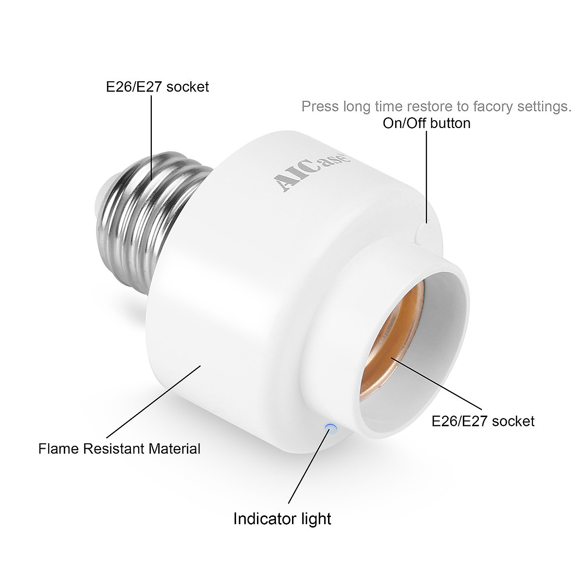 Smart Wifi E27 E26 Light Socket Aicase 2 Packintelligent Wlan Bulb To Ac Wall Outlet Plug Adapter On Off Switch 12 Home Remote Control Lamp Holder Compatible With Alexa And Google White