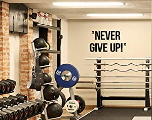 """CloceanBrand Never Give Up Wall Decal,Large Vinyl Wall Decal Stickers for Gym,Motivational Quote Art Decor(20.5"""" x 35"""")"""