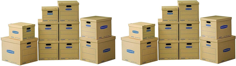 Bankers Box SmoothMove クラシック引っ越しキットボックス テープ不要 組み立て簡単 持ち運び用ハンドル Sサイズ 6個 Mサイズ 2個入り Lサイズ 10個パック (7716801) 4 X Pack of 10