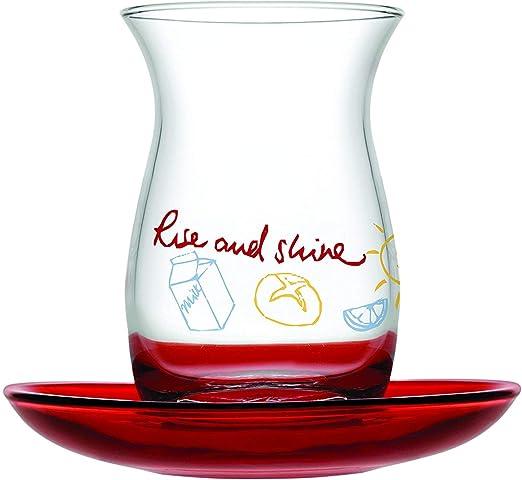 by Pasabahce 12 Pc Turkish Tea Glasses /& Saucers Set Gold Trim Design