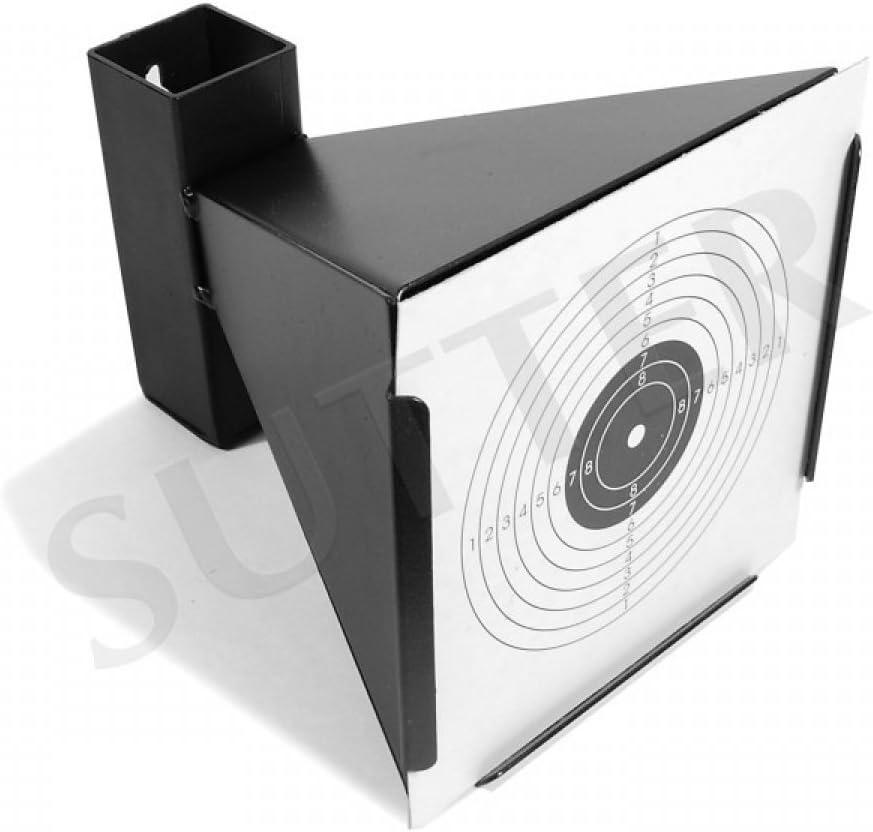SUTTER Parabalas con Embudo K750 para dianas de 14x14cm / De Metal/Soporte de dianas para Rifles/Pistolas de Aire comprimido